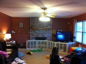 Wide view of family room